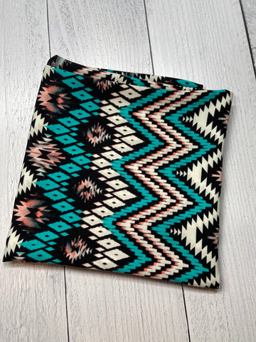 Turquoise & Coral Aztec