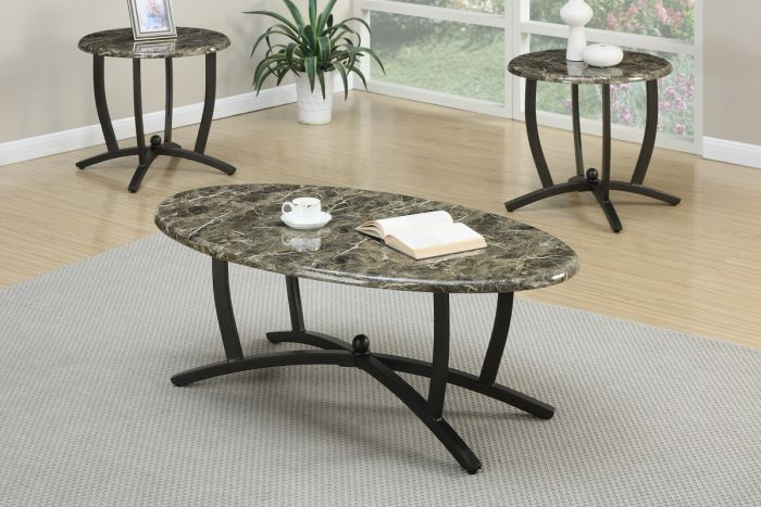 Faux Marble Coffee End Table Set Metrohome Furniture