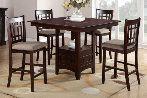 Dark Rosy Counter Height Dining Set