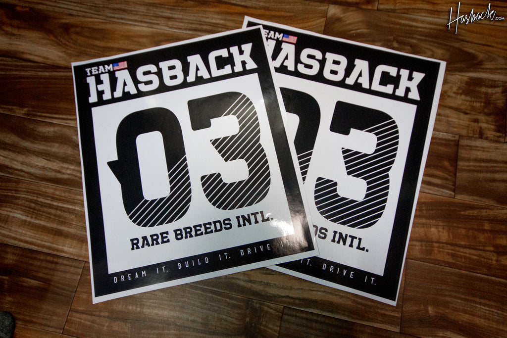 Hasback Track Number Race door Sticker