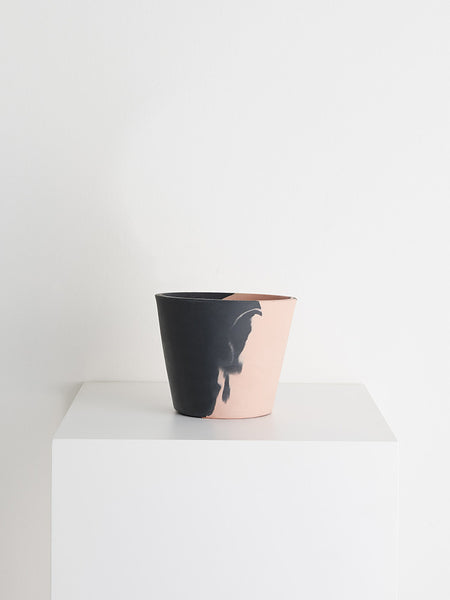Blush peach and charcoal eco-resin pot