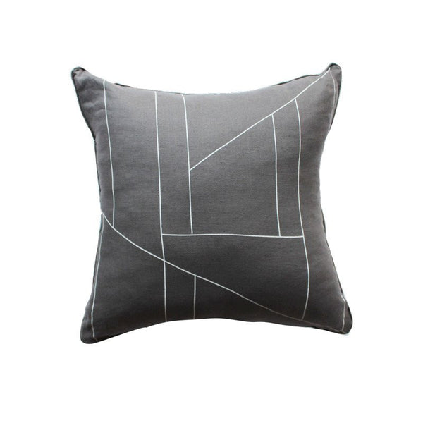 Charcoal geometric print cushion