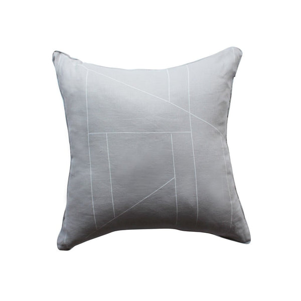 Feather grey geometric print cushion