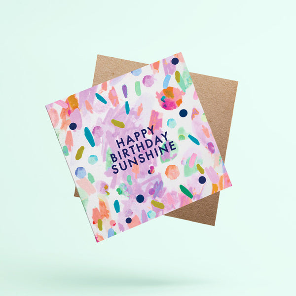 'Happy Birthday Sunshine' blank greeting card