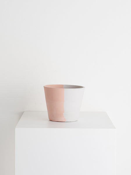 Blush peach and muted grey eco-resin pot