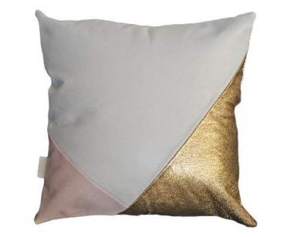 Splice snow/gold/blush leather cushion