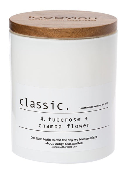 No. 4 tuberose and champa flower white classic candle