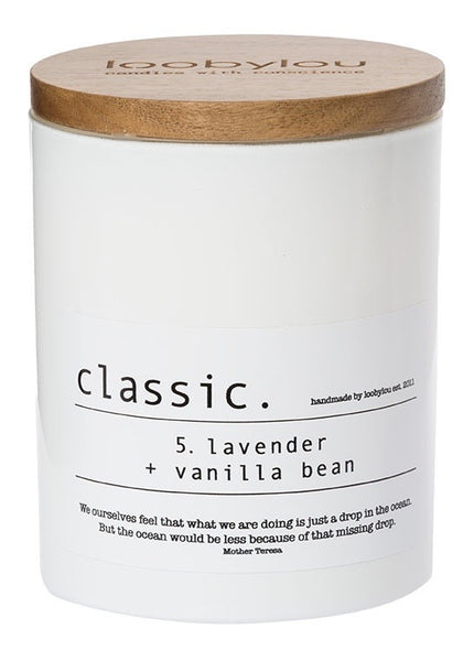 No. 5 lavender and vanilla bean white classic candle