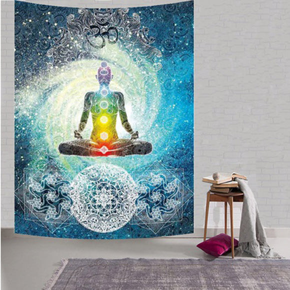 4.91 Ft x 4.91 Ft Wall Art Decor or Beach Use Chakra Design Tapestry