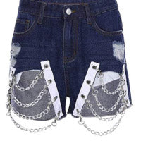 distressed denim shorts with chains