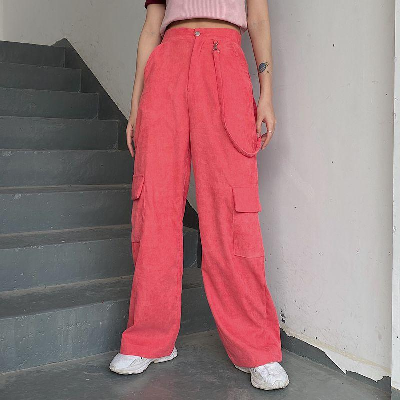 SWEET PINK CASUAL PATCHWORK CARGO PANTS