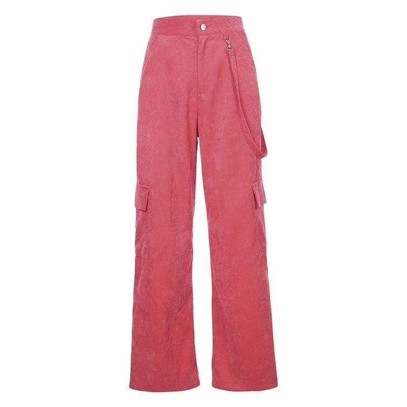 SWEET PINK CASUAL PATCHWORK CARGO PANTS - AXCID SHOP