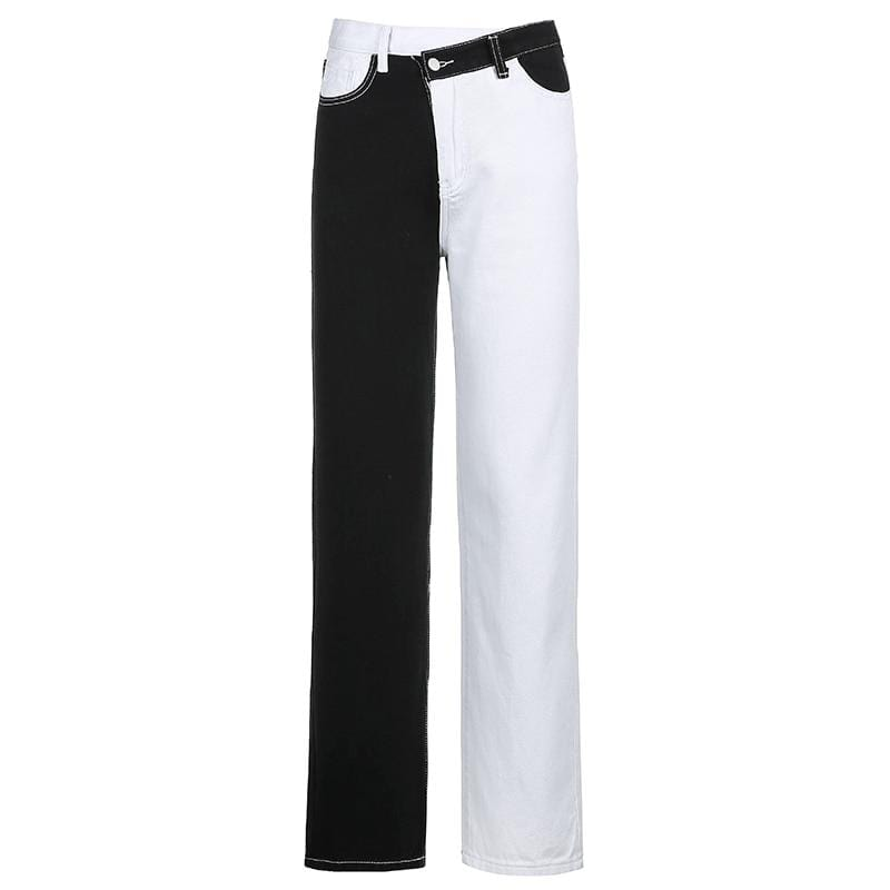 BLACK AND WHITE CONTRAST PATCHWORK JEANS