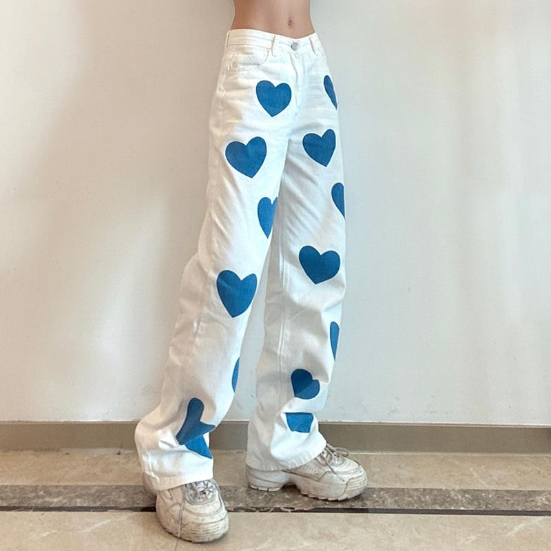 Blue Hearts White High Waisted Wide Leg Jeans