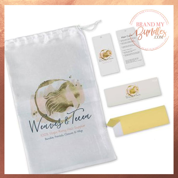 Satin Bags, Hang Tags, & Bundle Wraps Packaging Set - Brand My Bundles