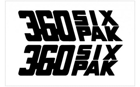 Dodge 360 Six Pak Decals (2) 11 inch