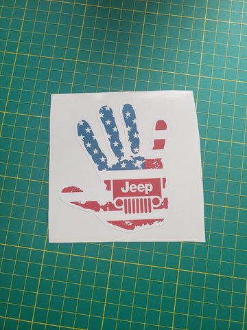 American Flag Jeep Wave 4 Inch Printed Decal