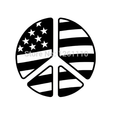 Peace Sign American Flag Decal