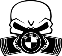 BMW Piston Gas Mask Skull Decal