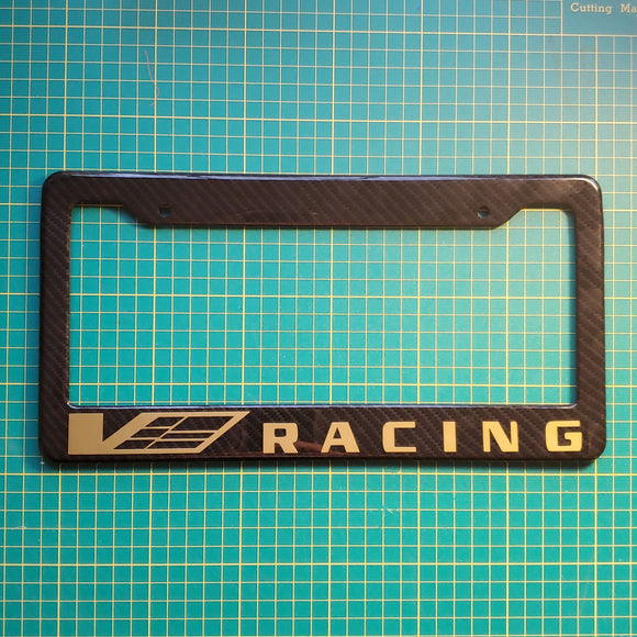 Cadillac V Racing Carbon Fiber Style License Plate Frame