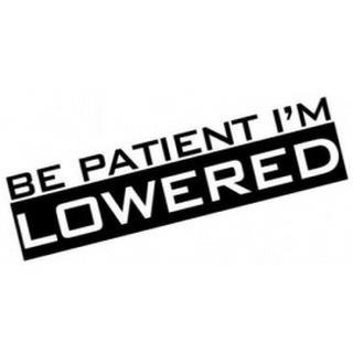 Be Patient I'm Lowered Decal
