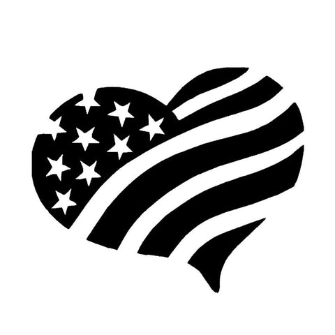 Heart American Flag decal
