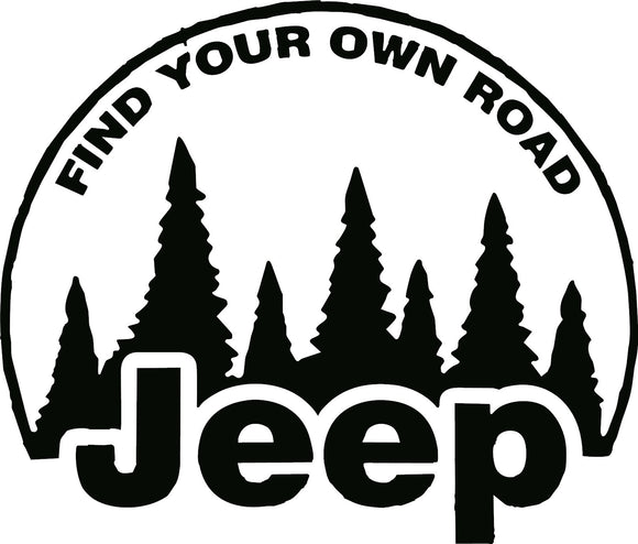 Find Your Own Road Jeep Decal
