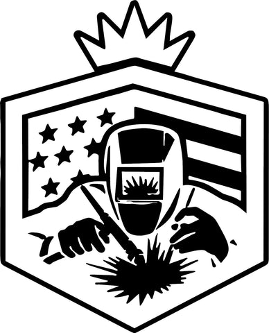 American Flag Welder Decal