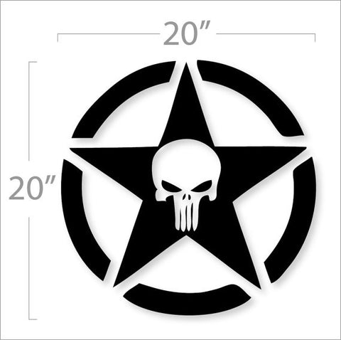 "Jeep Army Star Punisher Hood Decal 20""X20"""