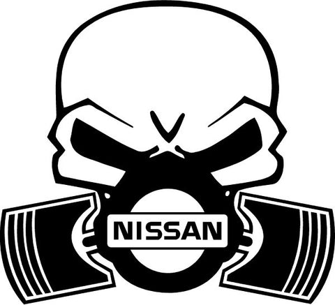 Nissan Piston Gas Mask Skull Decal