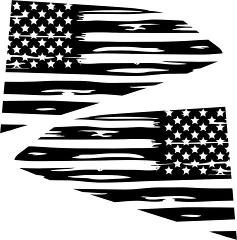 2016-2018 Chevy Camaro Distressed American Flag Quarter Window Decals