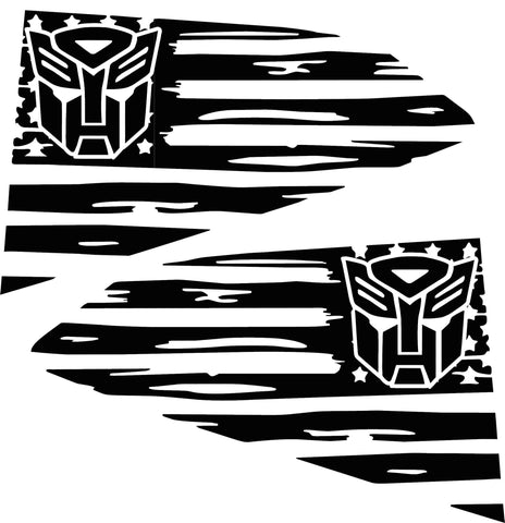 2016-2018 Chevy Camaro Distressed American Flag Autobot  Quarter Window Decals