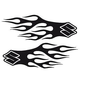 Flaming Suzuki Logo Set of (2) Decals