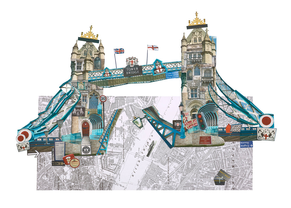 London Tower Bridge collage, art work and prints.