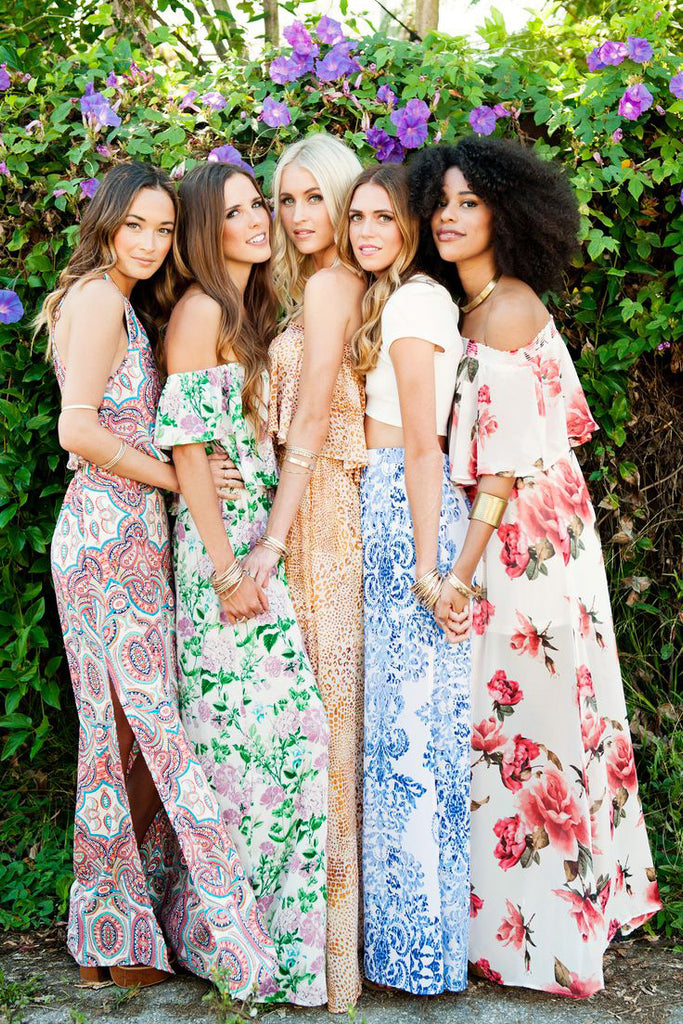 Inspiration For Bridesmaids: The Colorful Prints Floral Dresses