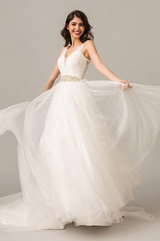 A Line Court Train V Neck Sleeveless Layers Wedding Dress