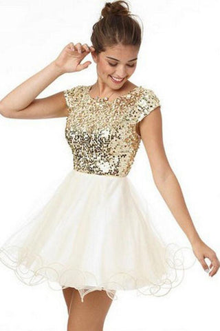 Cute Gold Sequins Short Sleeves Homecoming Dress