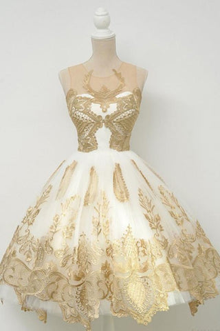 Gold Applique Homecoming Dresses