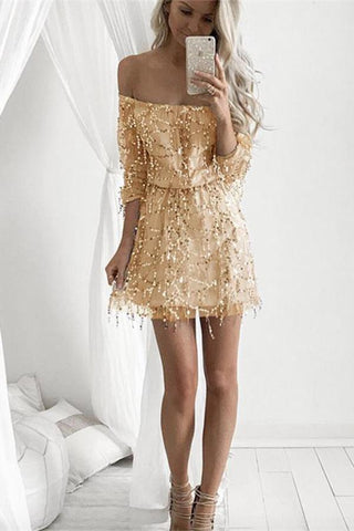 Sexy Off Shoulder Sequin Tassel Homecoming Dress