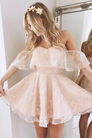 Pearl Pink A-Line Off Shoulder Mid Back Lace Homecoming Dress
