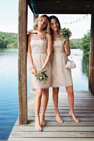 Sheer Neck Short Bridesmaid Dress