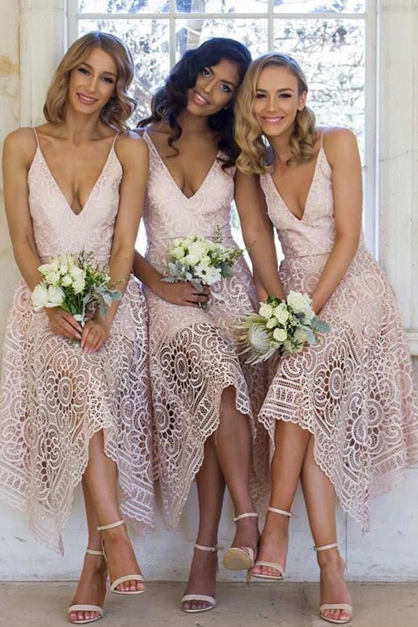A Line Asymmetrical Tea Length Deep V Neck Spaghetti Sleeveless Cheap Bridesmaid Dresses B202