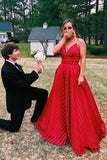 Stunning A-line V-neck Spaghetti Staps Red Stripe Long Prom Dress D411