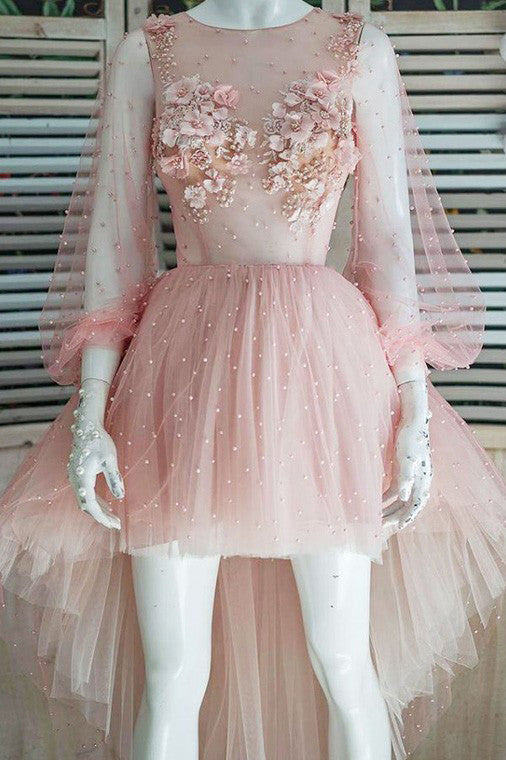 Long Puff Sleeves High Low Pink Homecoming Dresses with Beaded Appliques M754