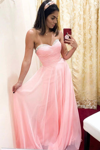 A line Beads Sweetheart Chiffon Long Prom Dress Pink Bridesmaid Dress D408