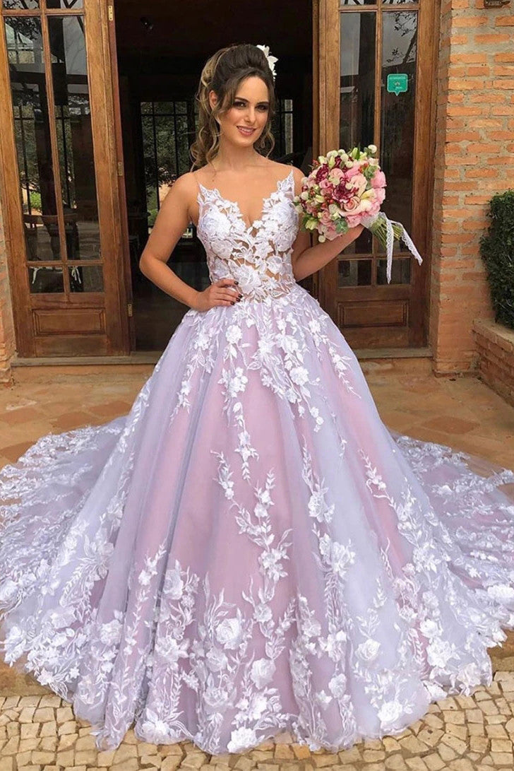 A-line Sleeveless V Neck Tulle Appliques Pink Long Prom Wedding Gown D409
