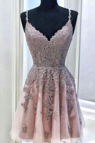Cute A-line V Neck Short Prom Dress Lace Homecoming Dress M755