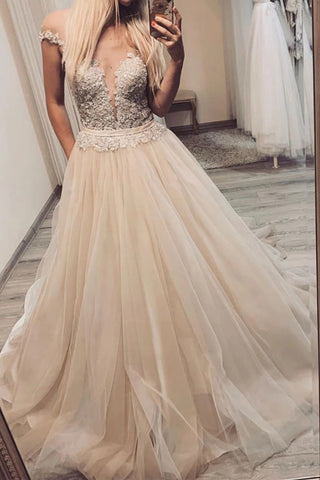 Cheap Long Prom Dresses A-line V-neck Off-Shoulder Tulle Pageant Gown D407