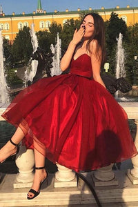 Sweetheart Red Prom Dresses Tea Length Homecoming Dresses M745