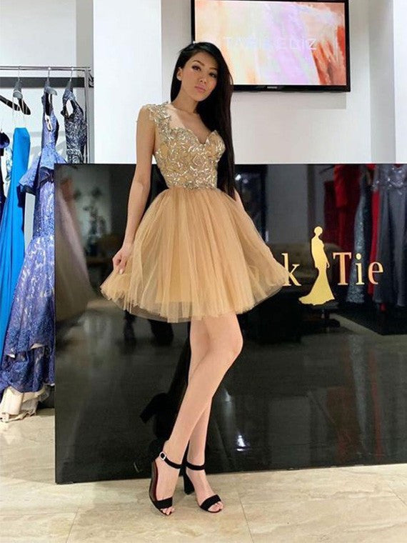 A Line Appliques Short Prom Homecoming Dresses With Tulle Skirt M747